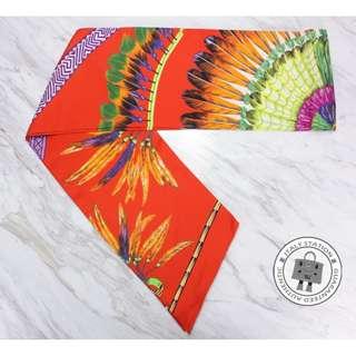 (NEW)Hermes 091793S BRAZIL MAXI TWILLY SILK SILK & SCARF, ROUGE 全新 圍巾 披肩 橙色