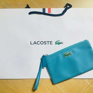 Preloved Lacoste wristlet aqua blue