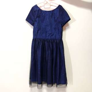 KIDS: Navy sparkly dress with black lace