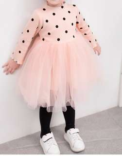 BN long sleeve pokka dots pink dress