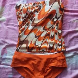 Orange two piece swimsuit