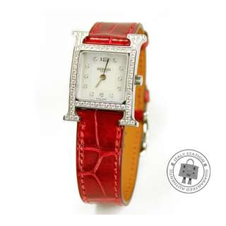 (NEW) Hermes 036812WW H HOUR HH1.230 HEURE H DIAMOND SHINY ALLIGATOR CROCODILE PM WATCH SHW, BRAISE 全新 手錶 紅色