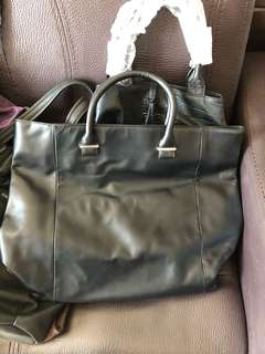 Real leather big size tote bag