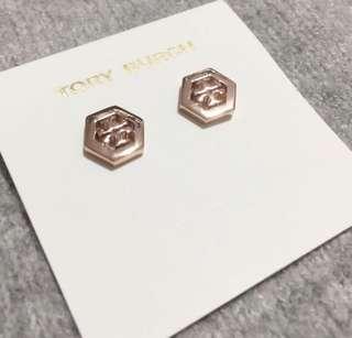 Tory Burch Earrings Rose 玫瑰金六角形耳環