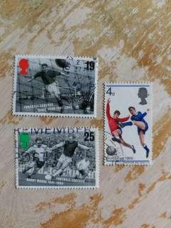 英國郵票 足球已銷郵票