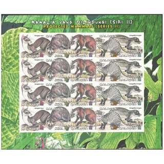 MALAYSIA 2000 PROTECTED MAMMALS IN MALAYSIA 2 FULL SHEETS WITH IMPERF. OF 20 STAMPS EACH SC#808 IN MINT MNH UNUSED CONDITION