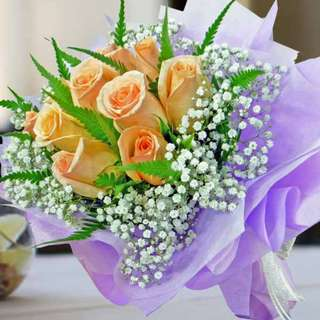 [FREE DELIVERY] 10 Champagne Roses Hand-bouquet (009-CM)