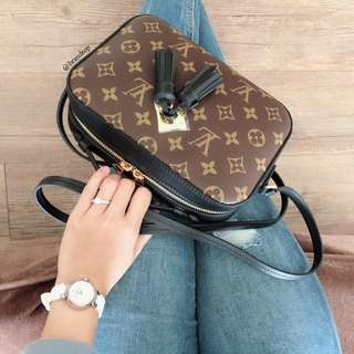 Authentic Louis Vuitton Monogram Saintonge Noir M43555 LV