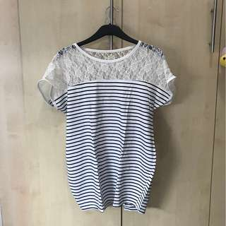 Striped Laced Tee