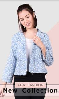 ADA FASHION FLORAL BLUE CARDIGAN/BLAZER/OUTER