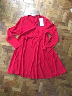 Zara Woman Red Dress L/S