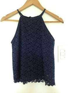 Midnight Blue Lace Crop Top