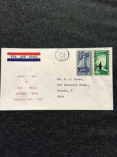 US 1963 Jan6 Last Day of 7c Air Mail Rate Cover Stamp