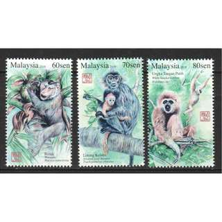 MALAYSIA 2016 PRIMATES SERIES 2 (YEAR OF MONKEY) COMP. SET OF 3 STAMPS IN MINT MNH UNUSED CONDITION