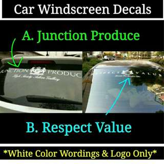 Car Windshield Decals JP Produce / Respect Value (White)