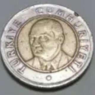 """Koin/Syiling """" 1 Yeni Turk Lira"""" Turki tahun 2005"""