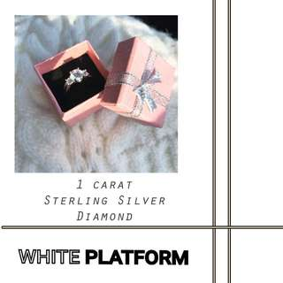 1 carat Sterling Silver Diamond ( REAL PHOTO )
