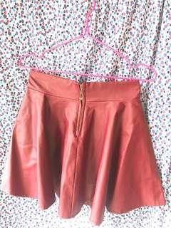 仿皮彈性短裙