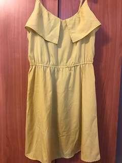 H&M黃色細肩洋裝