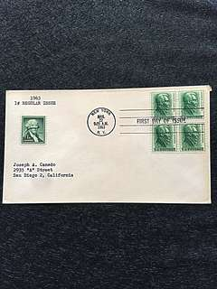 US 1963 1c Andrew Jackson Blk4 FDC Stamp