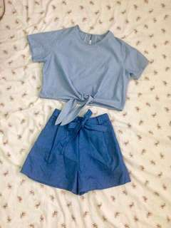 Chambray tie knot crop top and bow shorts terno
