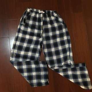 伸縮藍白格子長褲