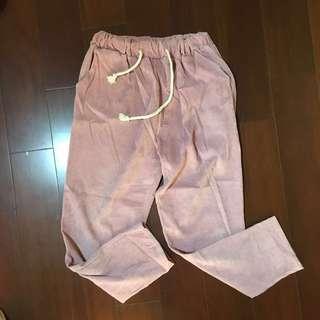 燈芯絨粉色鬆緊長褲