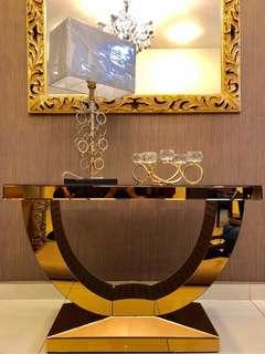 U Glass Champange Console Table