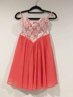 Strapless pink/coral dress