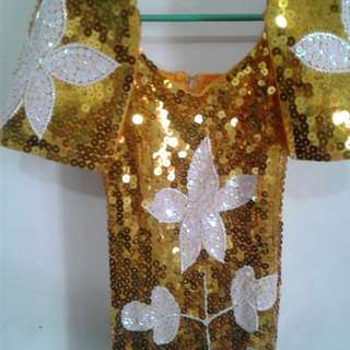 Sequinned Gold Filipiniana Dress Small