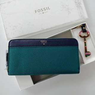 Authentic Fossil Brenna Wallet Set Navy Multi