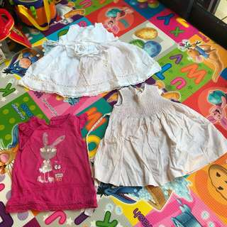 Baby Girl Dresses, 3 pcs, 12 months