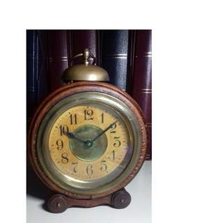 Germany Vintage Antique Art-Deco Wooden Alarm Clock 1950