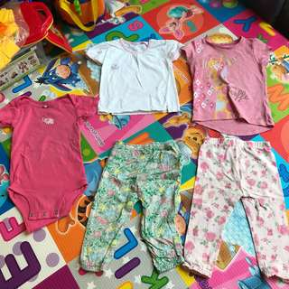 Two sets, top and bottom plus one jumpsuit, Carter's, Mothercare, Carter's