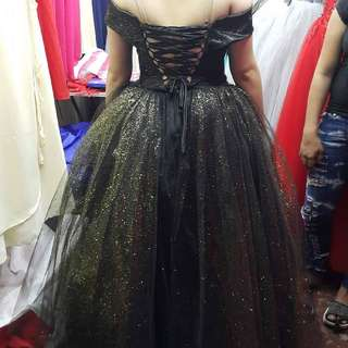 Black With Gold Glitters Off Shoulder Gown