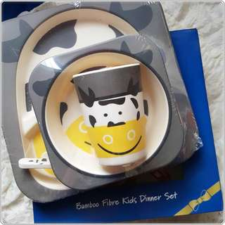 Moo Moo Cow Bamboo Fibre Kid Dinner Set