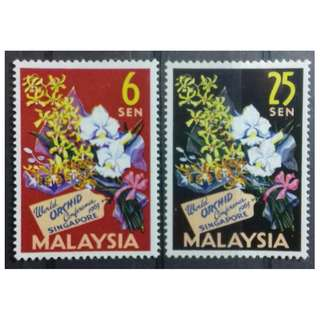 MALAYSIA 1963 4TH WORLD ORCHIDS CONFERENCE SG 4 - 5 MNH