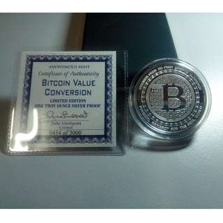 2018 Anonymous Mint Bitcoin Cryptocurrency Commemorative 1 Troy Ounce 999 Fine Silver Proof Coin