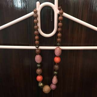Brown, pink and orange chunky beaded necklace