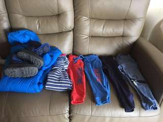 Winter boys 2yo - snow suit, boots, pants, pullover