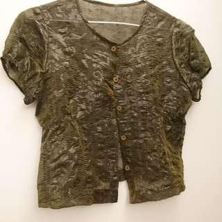 🚚 絲質短袖罩衫