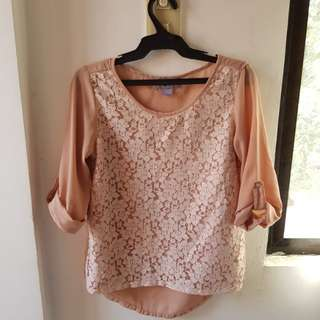 Juana Peach Lace Blouse