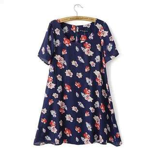 Floral Nonsleeves Dress
