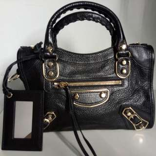 Balenciaga mini city in black gold hardware