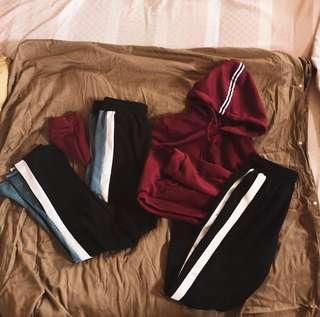 two/one stripes pants joggers sweatpants hoodie crop top