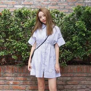 Stripes Button Polo Dress
