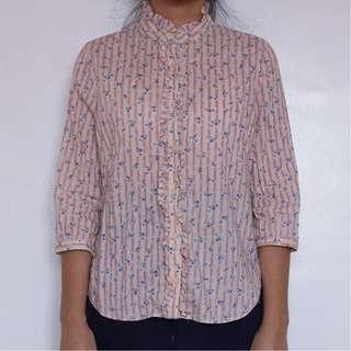 Floral quarter sleeve blouse