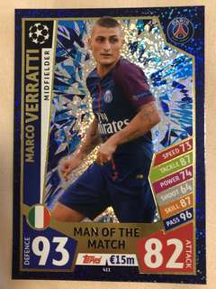 Match Attax Champions League Man of the match Cards