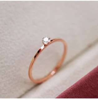 Korean style minimalist diamond ring