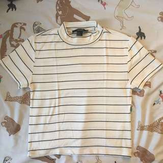 Forever 21 Creme Striped Crop Top